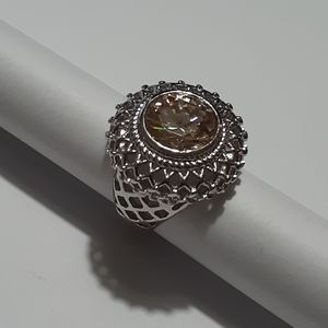 Silvertone cocktail ring